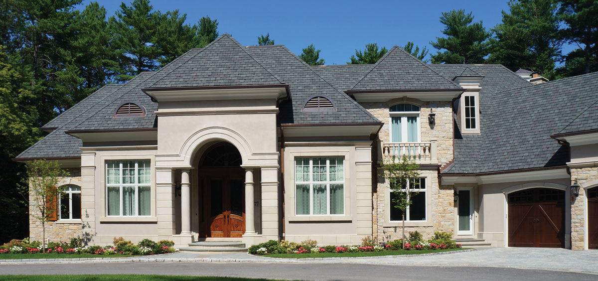 Square and Rec Veneer Stone with cast stone trim