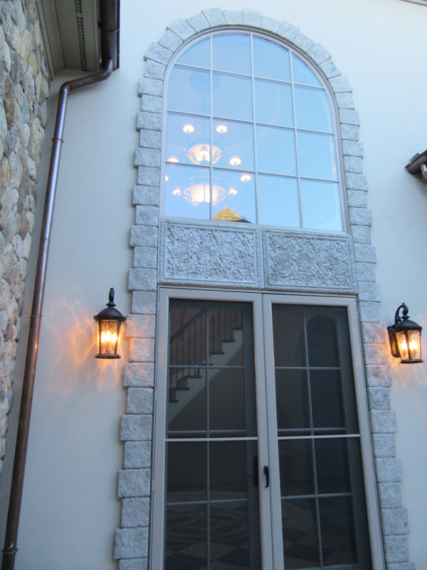 Dentil Molding and Custom Carved Stone Frieze