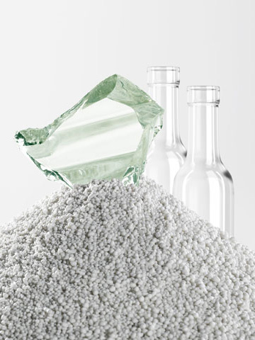 """Our Invisible Friend - Poraver's Recycled Glass Aggregate strengthens our stone veneer and is in keeping with our """"green"""" mission"""