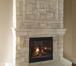 Cast Fireplace Mantels Integrate with Veneer Stone