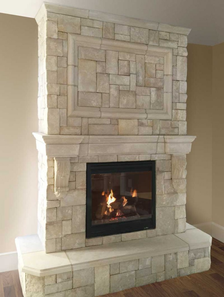 Fireplace Mantel with Veneer Stone