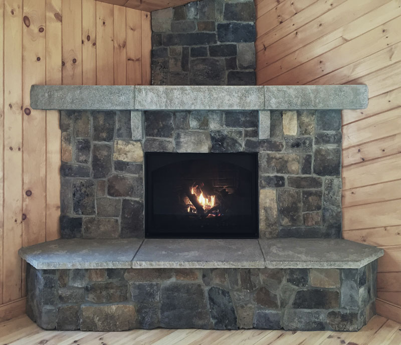 The Acadia Fireplace Features Ashlar Veneer Stone New